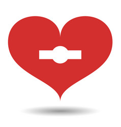 red heart with white with keyhole vector image