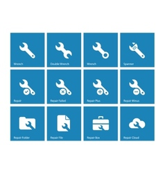 Repair Wrench icons on blue background vector