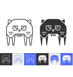 Robot cat simple black line icon vector