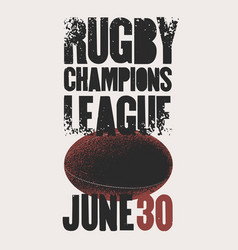 Rugby typographical vintage grunge style poster vector
