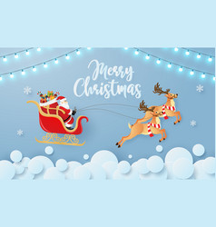 santa claus and reindeer flying on sky vector image