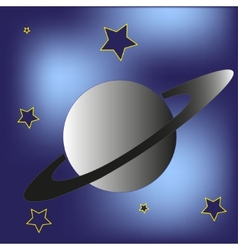 Saturn planet and stars vector image