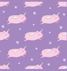 Seamless pattern background cute pig as pegasus vector
