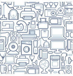 Seamless pattern of outline home appliances icons vector