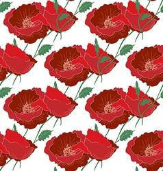 Seamless poppy pattern vector image