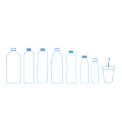 set bottles water icon outline blue vector image