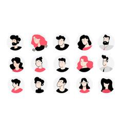 set flat design avatar icons vector image
