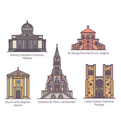 set isolated european catholic churches in line vector image