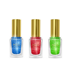 Set nail polishes with glittery texture nail vector