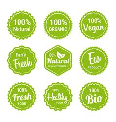 set natural organic product labels vector image