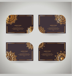 set of four rnamental gold cards with flower vector image