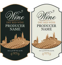 set wine labels with european rural landscape vector image