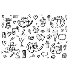 set with cute love symbols vector image