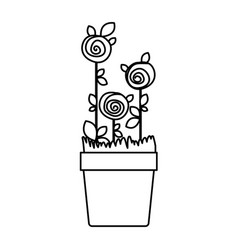 Silhouette drawing roses planted with leaves in vector