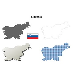 Slovenia outline map set vector