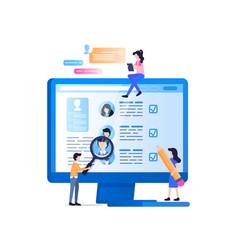 Social media recruit monitoring on laptop screen vector