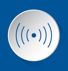 Sound vibration symbol blue icon on white button vector