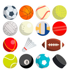 sport balls set round sport equipment vector image