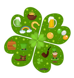 st patricks day icon set in clover-shape design vector image