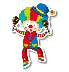 sticker template with happy clown cartoon vector image
