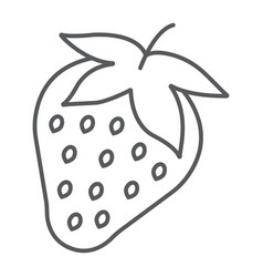 strawberry thin line icon fruit and vitamin vector image