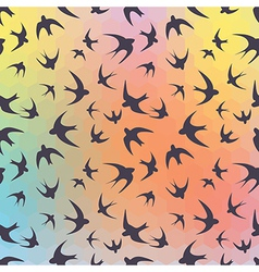 Swallow and rainbow hexagons vector image