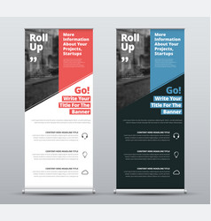 Templates of white and black roll-up banners vector