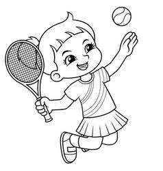 Tennis girl jump smash bw vector