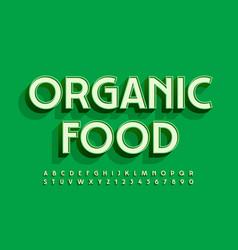 Trendy logo organic food green 3d alphabet vector