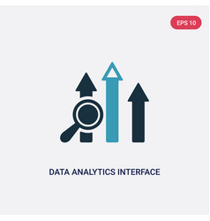two color data analytics interface icon from user vector image