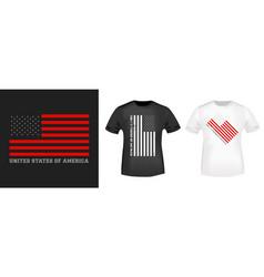 usa flag design print for t-shirt stamp tee vector image