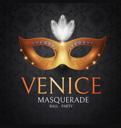 Venice carnival design template with gold mask vector