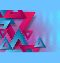 vibrant pink and blue triangles abstract vector image