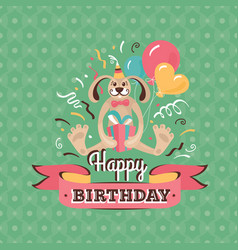 Vintage birthday greeting card with a hare vector