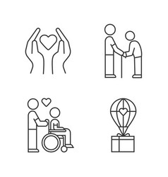 volunteering linear icons set charity project vector image