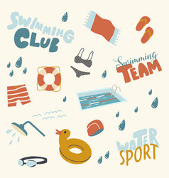Water sport icons set towel inflatable rubber vector