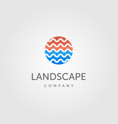 water wave symbol for river landscape logo label vector image