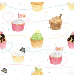 watercolor christmas cupcakes on pastel vector image