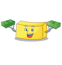 With money butter mascot cartoon style vector