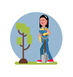 woman finished planting the tree vector image