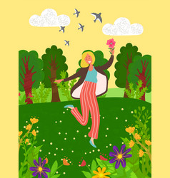 Woman outdoors in green park or garden with flower vector