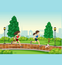 Woman running at the park vector