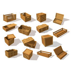 wooden packs or wood boxes for packaging vector image