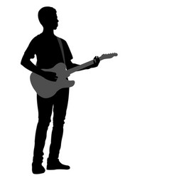 Young man playing electric guitar vector