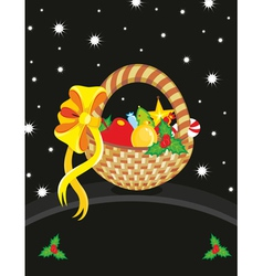 Basket Christmas Toy Card vector image vector image