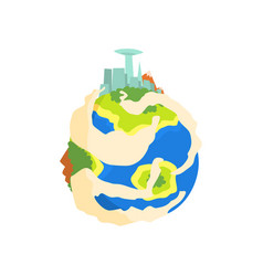 earth planet with mountain and skyscrapers cartoon vector image