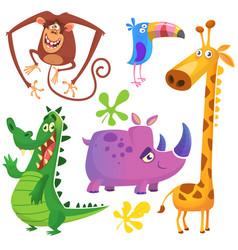 funny cartoon african savanna animals set vector image vector image