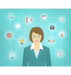 Modern Business Woman Conceptual Infographics vector image vector image