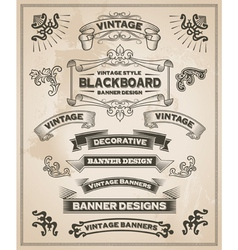 Vintage banner and ribbon set vector image vector image