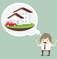 businessman is happy dream luxury house and car vector image vector image